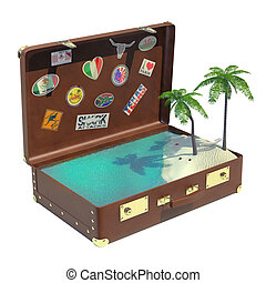 Tropical trip suitcase - Very high resolution 3D rendering...
