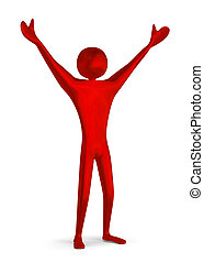 Red triumphant 3d man - Reflective shiny red triumphant 3d...