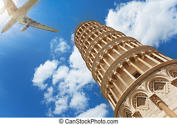 Low angle shot of Pisa tower and airplane with tourists...