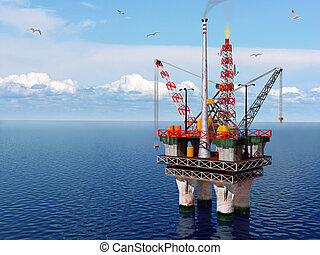 Oil platform in the sea - Computer generated image of an oil...