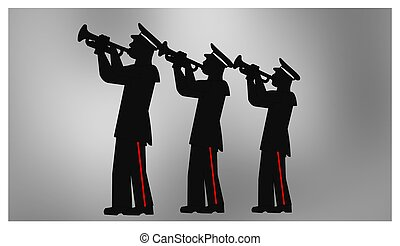 soldiers salute - three military men blowing trumpets for...