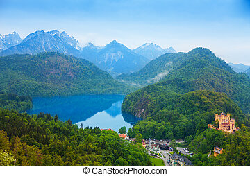 Neuschwanstein - Lower castle and lake in Neuschwanstein,...