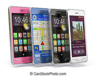 Smartphones - Very high resolution 3d rendering of four...