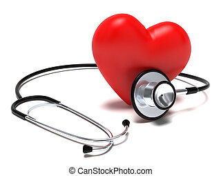 Stethoscope and heart - Very high resolution 3d rendering of...