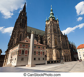 St. Vitus Cathedral and square in Prague hrad