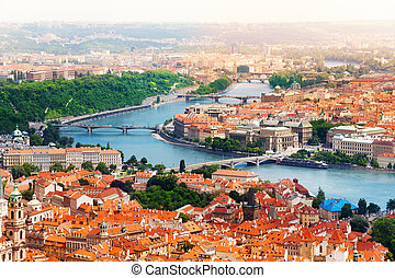 Vltava river and bridges in Prague bird view panorama