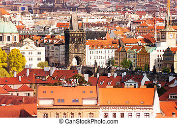 Charles Bridge and Prague roofs