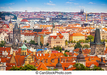 Prague downtown panorama