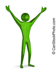 Green triumphant 3d man - Reflective shiny green triumphant...