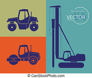 Silhouettes of construction equip - Construction equipment...
