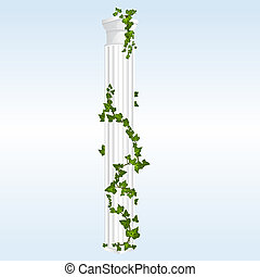 Vector Column with Ivy - Vector Doric Column with Ivy leaves...