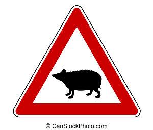 Hedgehog warning sign