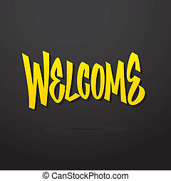 Welcome hand written lettering Vector calligraphy