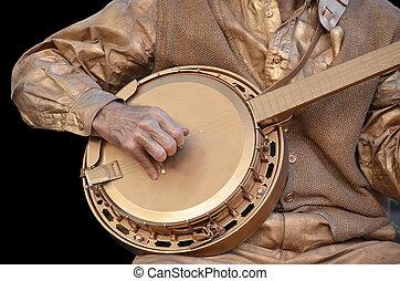 bronce, banjo, jugador