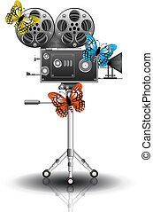 Movie camera - Vector illustration of movie camera with...