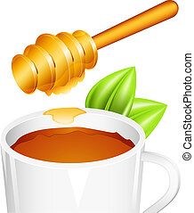Honey - Vector illustration of tea cup with honey