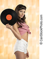 sensual pin-up with music LP