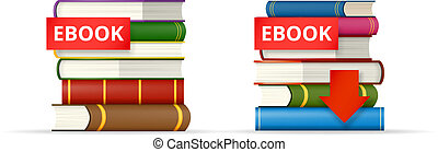 EBOOK books stacks icons - EBOOK icons, stack of books and...