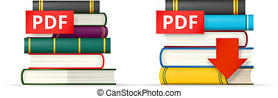 PDF books stacks icons - PDF icons, stack of books and...