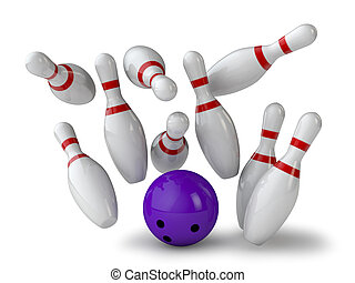 bowling alley - nine Kegel and ball on white background