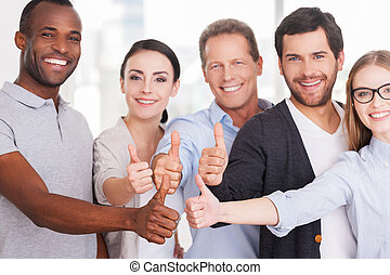 Happy business team Group of cheerful business people in...