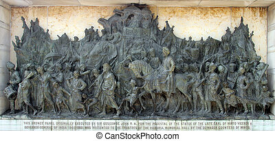 Bronze memorial panel at the Victoria Memorial building in...