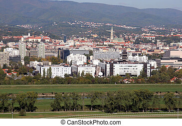 Croatian National Radio and Television Building and the city...