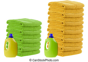 Comparison test - Concept of laundry detergent comparison...