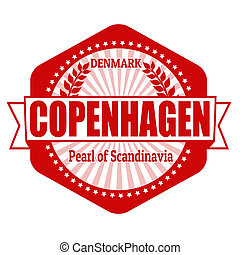 Copenhagen capital of Denmark label or stamp on white,...