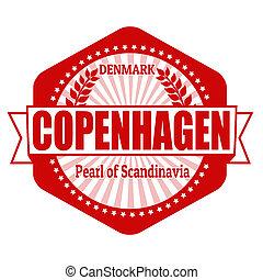 Copenhagen capital of Denmark label or stamp on white,...