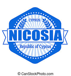 Nicosia capital of Cyprus label or stamp