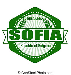 Sofia capital of Bulgaria label or stamp