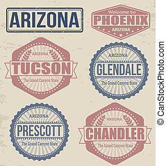 Arizona cities stamps - Set of Arizona cities stamps on...