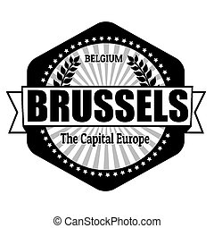 Brussels capital of Belgium label or stamp on white, vector...