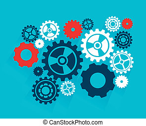 gears design over blue background vector illustration
