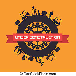 under construction design - under construction over orange...