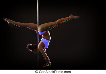 Curvy young girl doing splits standing on hands - Image of...