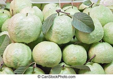 Fresh guavas with green leaf
