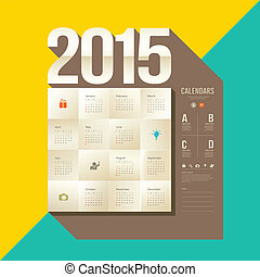 Calendar 2015, origami paper square design, yellow and green...