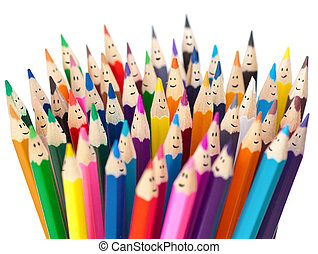 Colorful pencils with smiling faces isolated. Social...