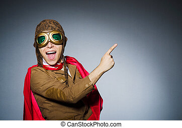 divertido, piloto, gafas de protección, casco