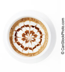 Hot mocha with latte art,top view
