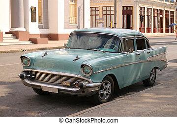 Classic Car in Cienfuegos, Cuba - CIENFUEGOS, CUBA -...