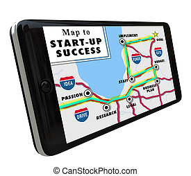 Road Map Start-Up Success Directions Navigation System GPS -...