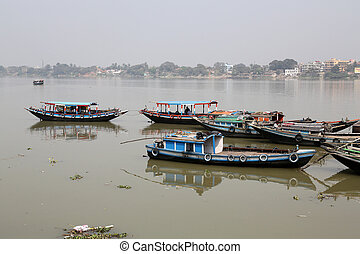 River boats waiting for the passengers at the dock on,...