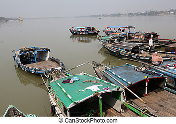 River boats waiting for the passengers at the dock, Kolkata...