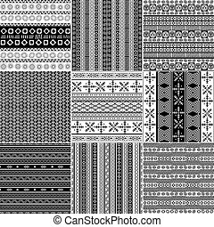 Tribal motif monochrome set - Set of monochrome geometric...