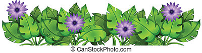 Green leafy plants with flowers - Illustration of the green...