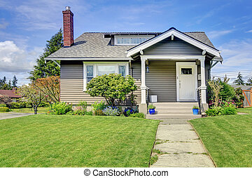 Classic american house with column porch - Clapboard siding...