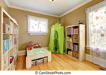 Kids room with a green tent - Gentle kids room with floral...